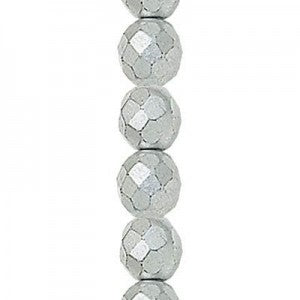 "Czech Fire Polish Glass - 4 mm Round - Matte Silver - Sold per 7"" Strand - Approx 44 Beads"