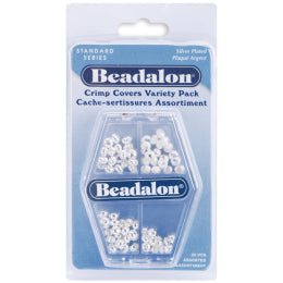 Beadalon Crimp Covers Variety Pack - Silver Plated - 4x20