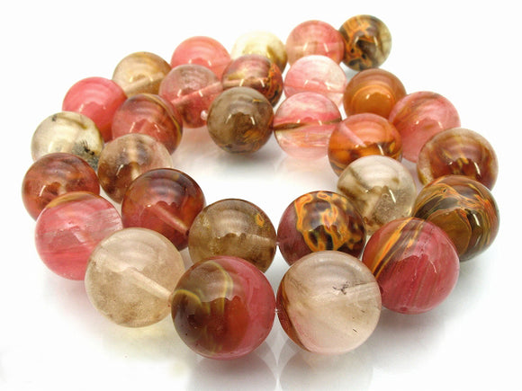 Fire Cherry Quartz - Natural - 8 mm Round - Per Strand Approx. 48 Beads