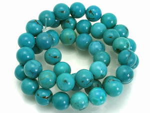 Tibet Stabilized Turquoise - 8 mm Round - Per Strand Approx 48 Beads