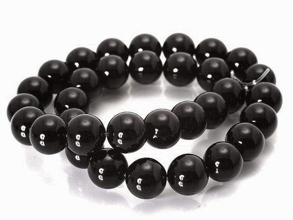 Black Agate - natural - 8 mm Round - Sold Per Strand - Approx. 48 Beads