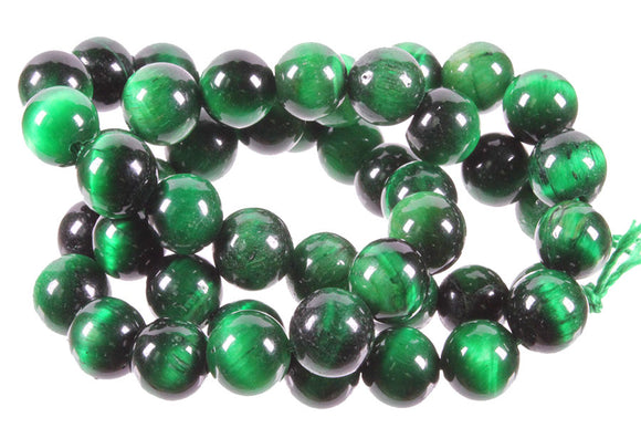 Green Tiger's Eye - Dyed - 8 mm Round - Sold per Strand Approx 48 Beads