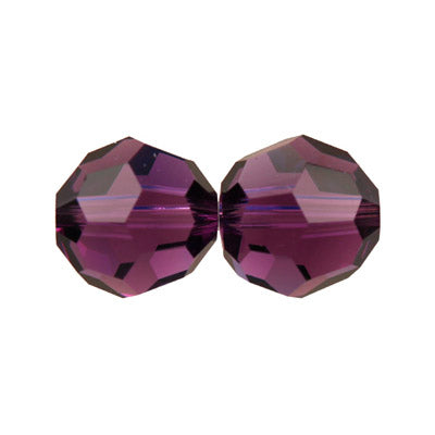 Czech Fire Polish Glass - 8 mm Round - Amethyst - Sold per 7
