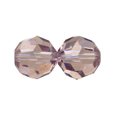 Czech Fire Polish Glass - 6 mm Round - Light Amethyst - Sold per 7