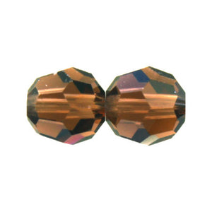 "Czech Fire Polish Glass - 8 mm Round - Smoked Topaz - Sold per 7"" Strand - Approx 22 Beads"