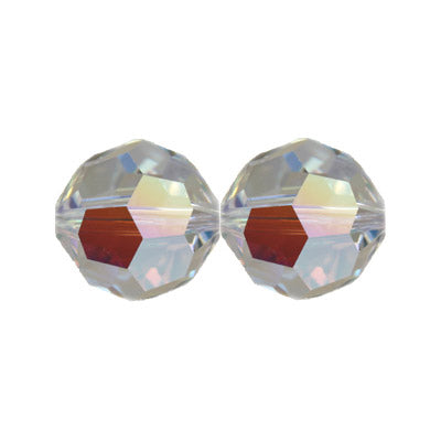Czech Fire Polish Glass - 4 mm Round - Crystal AB - Sold per 7