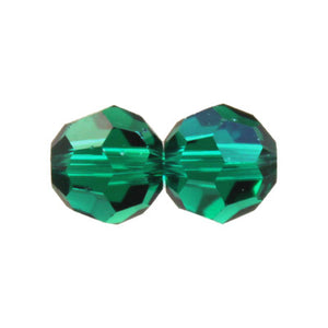 "Czech Fire Polish Glass - 8 mm Round - Emerald - Sold per 7"" Strand - Approx 22 Beads"