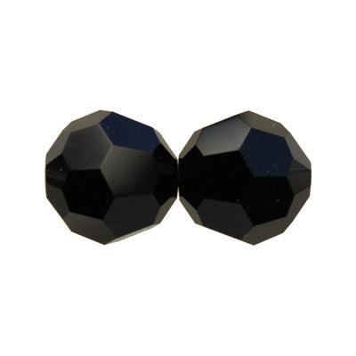 Czech Fire Polish Glass - 6 mm Round - Jet - Sold per 7