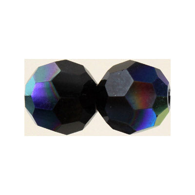 Czech Fire Polish Glass - 6 mm Round - Jet AB - Sold per 7