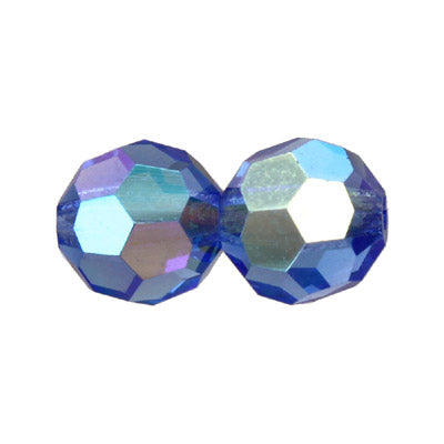 Czech Fire Polish Glass - 4 mm Round - Sapphire AB - Sold per 7