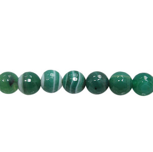 Green Striped Agate - Dyed - 8 mm Round Beads - Per Strand Approx 48 Beads