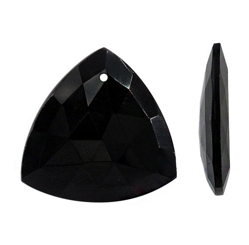 Black Onyx Obsidian Triangle Pendants - natural - 29 x 30 mm with 1 mm hole