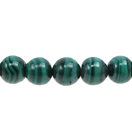 Green Malachite Reconstituted - 8 mm Round - Sold Per Strand - Approx.  Beads