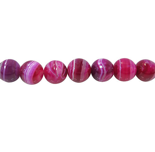 Rose Striped Agate  - Dyed - 6 mm Round Beads - Sold Per Strand Approx. 64 Beads