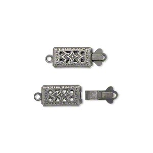 Clasp, tab, antiqued silver-plated brass, 11x6mm double-sided filigree rectangle