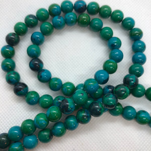 Azurite Chrysocolla 6 mm Round - Sold Per Strand Approx. 64 Beads