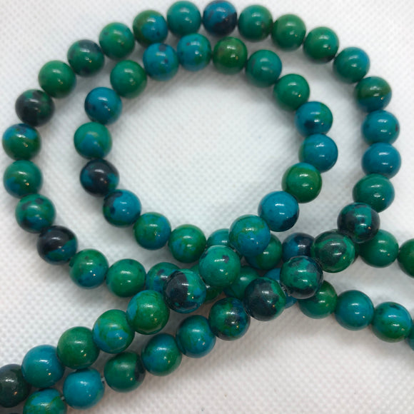 Azurite Chrysocolla - natural - 6 mm Round - Sold Per Strand Approx. 64 Beads