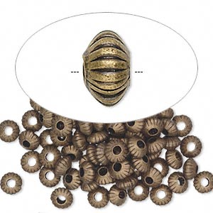 Bead, antique gold-plated brass, 5x3mm corrugated saucer. Sold per pkg of 100.