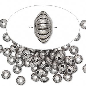 Bead, antique silver-plated brass, 5x3mm corrugated saucer. Sold per pkg of 100.
