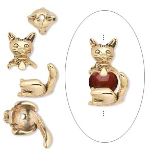Bead cap, antique gold-plated pewter (tin-based alloy), 19x10mm cat, fits 7-8mm bead. Sold per 2-piece set.