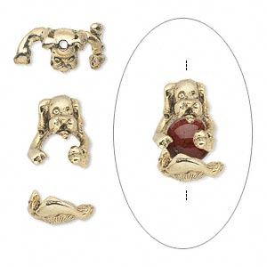 Bead cap, antique gold-plated pewter (tin-based alloy), 14x12mm dog, fits 7-8mm bead. Sold per 2-piece set.