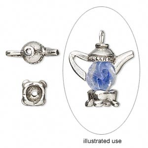 Bead cap, antiqued pewter (tin-based alloy), 20x17mm teapot, fits 7-8mm bead. Sold per 2-piece set.
