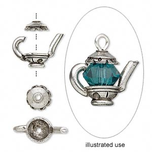 Bead cap, antiqued pewter (tin-based alloy), 15x7mm teapot, fits 5-6mm bead. Sold per 2-piece set.