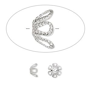 Bead Cap, Silver-plated brass, 7x4mm flower, fits 7-9mm bead. Sold per pkg of 100