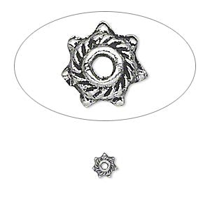 "Bead cap, antique silver-plated ""pewter"" (zinc-based alloy), 5x2mm star, for 4-6mm bead.. Sold per pkg of 50"