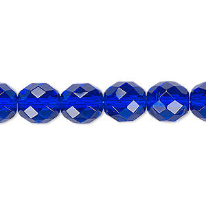 "Czech Fire Polish Glass - 4 mm Round - Cobalt - Sold per 7"" Strand - Approx 44 Beads"