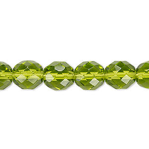 "Czech Fire Polish Glass - 8 mm Round - Olivine - Sold per 7"" Strand - Approx 22 Beads"