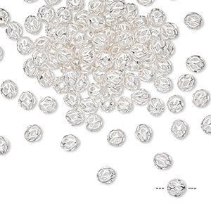Bead, silver-plated brass, 4mm cutout round. Sold per pkg of 100.