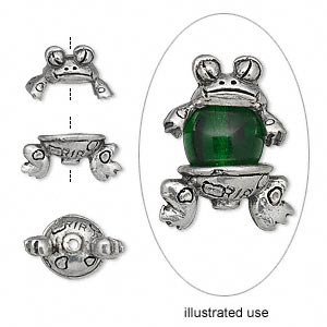 Bead cap, antiqued pewter (tin-based alloy), 19x12.5mm 2-piece frog, fits 7-9mm bead. Set includes head and body