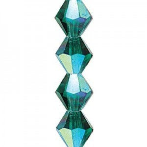 "Preciosa Czech Machine Cut Crystal - 6 mm Bicone - Emerald AB - Sold per 7"" Strand - Approx 29 Beads"