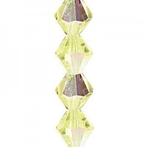 "Preciosa Czech Machine Cut Crystal - 6 mm Bicone - Jonquil AB - Sold per 7"" Strand - Approx 29 Beads"