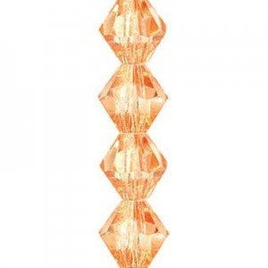 "Preciosa  Czech Machine Cut Crystal - 4 mm Bicone - Light Orange - Sold per 7"" Strand - Approx 44 Beads"