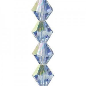 "Preciosa Czech Machine Cut Crystal - 4 mm Bicone - Light Sapphire AB - Sold per 7"" Strand - Approx 44 Beads"