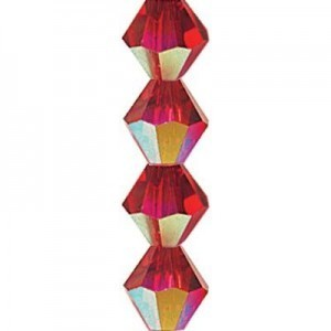 "Preciosa Czech Machine Cut Crystal - 4 mm Bicone - Light Siam AB - Sold per 7"" Strand - Approx 44 Beads"