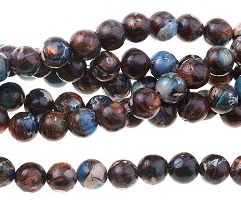 Blue Bronzite Impression Jasper - Dyed - 6 mm Round - 16