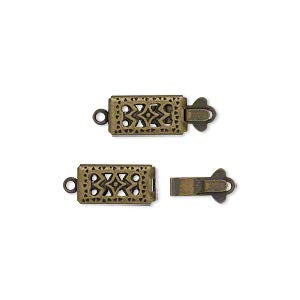 Clasp, tab, antiqued gold-plated brass, 11x6mm double-sided filigree rectangle.