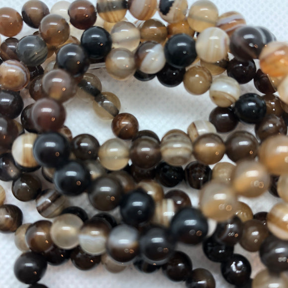 Brown Stripe Agate - Dyed - 8 mm Round - Sold per Strand - Approx. 48 Beads