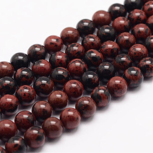 Mahogany Obsidian - natural - 8 mm Round -  Per Strand Approx 64 Beads