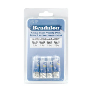 Beadalon Silver Plated Crimp Tube Variety Pack - 600 pieces - 250-Size 0, 150-Size 1, 125-Size 2, 75-Size 3
