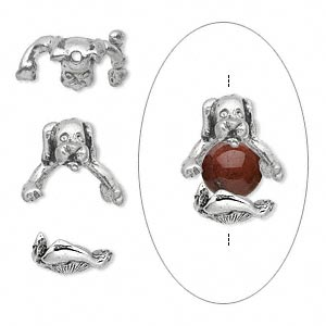 Bead cap, antiqued pewter (tin-based alloy), 14x12mm 2-piece dog, for 7-8mm bead. Set includes head and body
