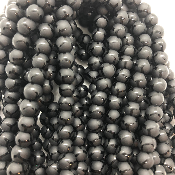 Black Football Agate - Synthetic - 6 mm Round - Sold Per Strand - Approx 64 Beads