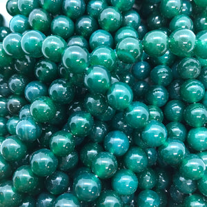 Green Ice Jade - Dyed - 8 mm Round - Sold Per Strand - Approx 48 Beads