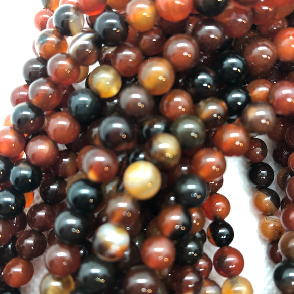 Agate - Natural - 8 mm Round - Sold Per Strand - Approx 48 Beads