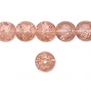 Czech crackle glass druk, Pink, 6mm round. Sold per 15-1/2