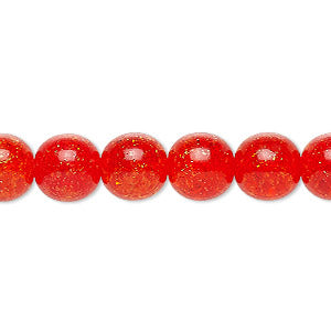 "Czech crackle glass druk, Orange, 6mm round. Sold per 15-1/2"" to 16"" strand, approximately 65 beads."