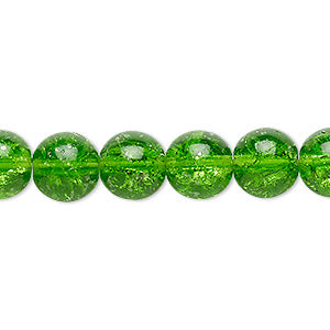 "Czech crackle glass druk, Green, 8mm round. Sold per 15-1/2"" to 16"" strand, approximately 50 beads."